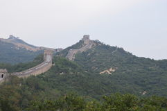 Great Wall of China Guard Towers. The Great Wall of China has guard towers overlooking the valleys below Royalty Free Stock Photo