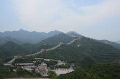 Great Wall of China. With guard towers and trees Stock Photography