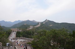 Great Wall of China. The Great Wall of China has people walking and mountains in the background. Photos this clear are becoming increasingly rare due to the low Royalty Free Stock Images