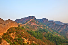 Great Wall of China and hills sunrise scenery Stock Photo
