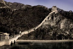 Great Wall of China at Juyongguan Pass. Great wall as it rising up mountain from river in at Juyongguan Pass royalty free stock images