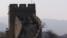 Great Wall of China people going into a tower stock video