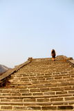 Great Wall of China. Lone climber on the wall Royalty Free Stock Image
