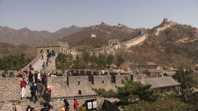 Great Wall of China lots of people tourists stock footage