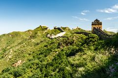Great Wall of China and lush  green countryside Royalty Free Stock Photos