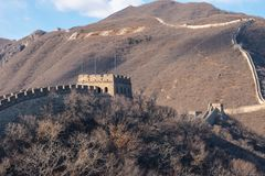 Great Wall of China - Day Winter browns, looking down - with no recognisable people. Great Wall of China, a massive wall made of bricks and rice mortar with many royalty free stock photo