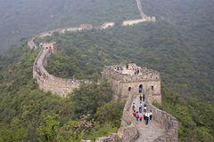 Great wall of China in a morning mist royalty free stock photo