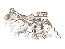 Great wall of China monochrome sketch outline vector illustration. Great wall of China monochrome sketch outline. Famous landmark made of stone and concrete Stock Photography