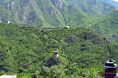 Great Wall of China and mountains Stock Images