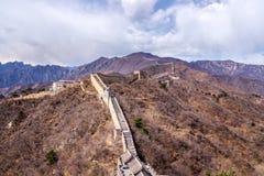 Great Wall of China, Mutianyu section near Beijing. Panoramic view, autumn stock photo