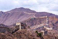 Great Wall of China, Mutianyu section near Beijing. Panoramic view, autumn royalty free stock photo