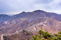 Great Wall of China, Mutianyu section near Beijing. Panoramic view, autumn stock images