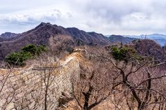 Great Wall of China, Mutianyu section near Beijing. Ruined fragment, autumn stock image