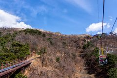 Great Wall of China, Mutianyu section near Beijing. With view on slide and chairlift, autumn stock image