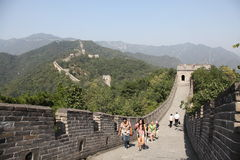 Great Wall of China. Mutianyu. Tourists. Stock Photos