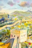 The Great Wall of China at Mutianyu. Watercolor painting. Landscape colorful of architecture, section natural tourism travel in beautiful spring season and stock illustration
