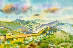 The Great Wall of China at Mutianyu. Watercolor painting. Landscape multi color of architecture, section natural tourism travel in beautiful spring season and Royalty Free Stock Photography