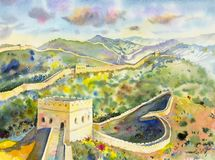 The Great Wall of China at Mutianyu. Watercolor painting. Landscape multicolor of architecture, section natural tourism travel in beautiful spring season and Royalty Free Stock Image