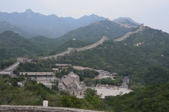 Great Wall of China. With numerous guard towers and mountains stock photos