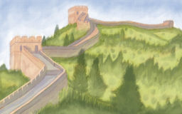 The Great wall of China. Painting style illustration of The Great wall of China Stock Images
