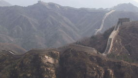 Great Wall of China panning from right to left over mountains stock footage