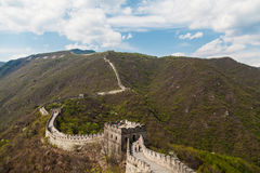 The great wall of china. The panorama of Chinese wall during the sunny day Royalty Free Stock Images