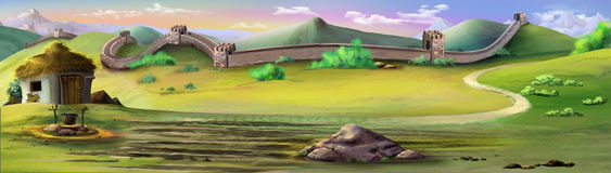 The Great Wall of China. Panorama view. Digital painting of the Great Wall of China. Landscape with wall, mountains and green fields stock illustration