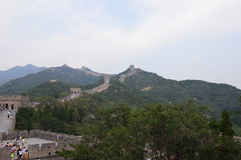 Great Wall of China. With people climbing Stock Photos