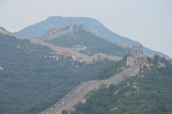 Great Wall of China with People. People walk along the Great Wall of China Royalty Free Stock Images