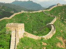 Great Wall of China. A section of 'wild wall' along the Great Wall of China showing a section joining from the right (Landscape Royalty Free Stock Photography