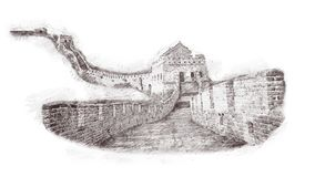 The Great Wall of China in sketch style. Illustration, hand drawn, sketch isolated on white.Watercolor chinese historical showplac. E for print, souvenirs Royalty Free Stock Image