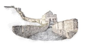 The Great Wall of China in sketch style. Illustration, hand drawn, sketch isolated on white.Watercolor chinese historical showplac. E for print, souvenirs Stock Image