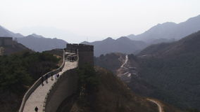 Great Wall of China zooming out to reveal mountains stock video
