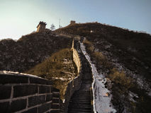 Great wall, China. The snow laying at the road and walking difficult Royalty Free Stock Photography