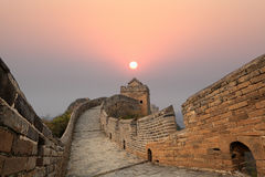 The great wall of china at sunrise royalty free stock images