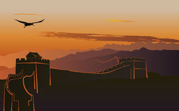 The Great Wall of China. At sunset vector illustration