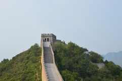 Great Wall of China. At the top of the mountain with guard tower Royalty Free Stock Images