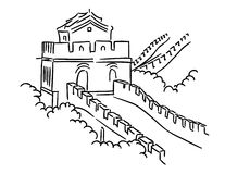 Great Wall in China. For travel and journey industry design royalty free illustration