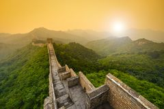 Great Wall of China. Unrestored sections at Jinshanling Stock Image