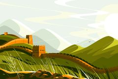 Great Wall of China. Vector illustration. Chinese famous landmark with watchtowers and wall sections on green mountains for travel and tourism design flat style royalty free illustration