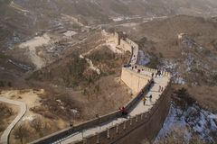 The Great Wall Of China With A Visitors Center In The Background Royalty Free Stock Image