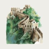 The Great Wall of China watercolor illustration royalty free illustration