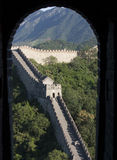 View of the great wall out of window,China. The view that look out from beacon tower window royalty free stock photo