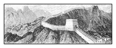 Great Wall of China, XIX century engraving. Vintage engraving of Great Wall of China with its magnificent fortifications made of stone and brick, built across Royalty Free Stock Photos