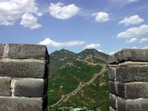 The Great Wall climbs up the mountains of Badaling. Pic of the Great Wall of China in the steep mountains of Badaling, outside Beijing Royalty Free Stock Photo