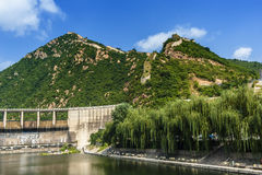 Great Wall and the dam Stock Images
