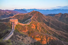 Great wall at dusk. The dusk in Jinshanling Great Wall Royalty Free Stock Photo