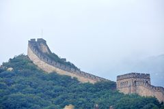 Great Wall in fog, Beijing , China Stock Photography