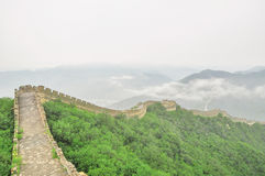 Great Wall fog over mountains in Beijing Royalty Free Stock Photo