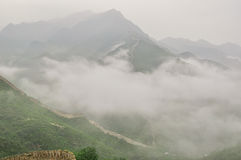 Great Wall fog over mountains in Beijing Royalty Free Stock Image